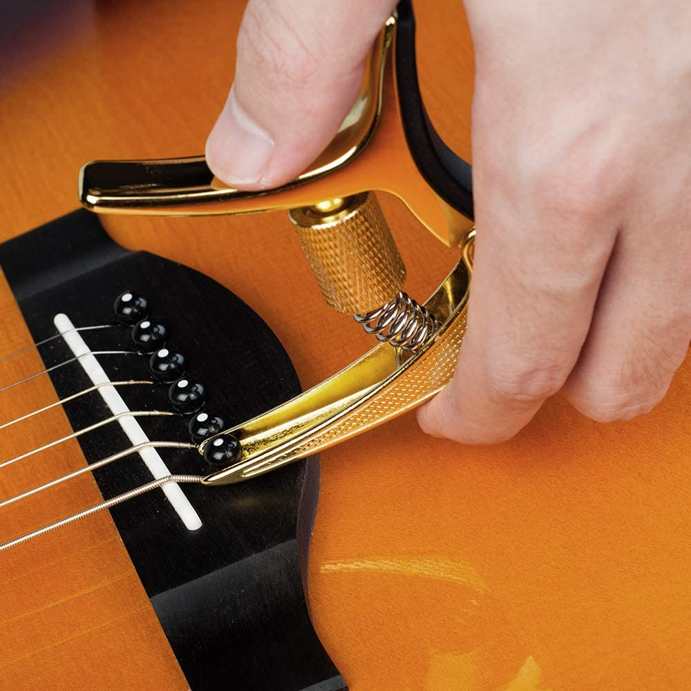 Guitar Capo Buzz-free with Tension Adjustment for Electric and Acoustic Bass Ukulele Integrated Pick Holder Tri-action Guitar Clamp GGC-02 Black