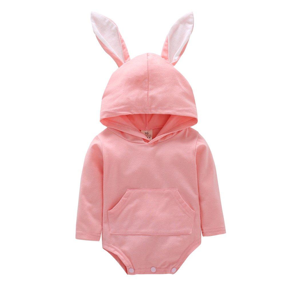erthome Baby Body Baby Mädchen Jungen Kaninchen Ohr Mit Kapuze Spielanzug