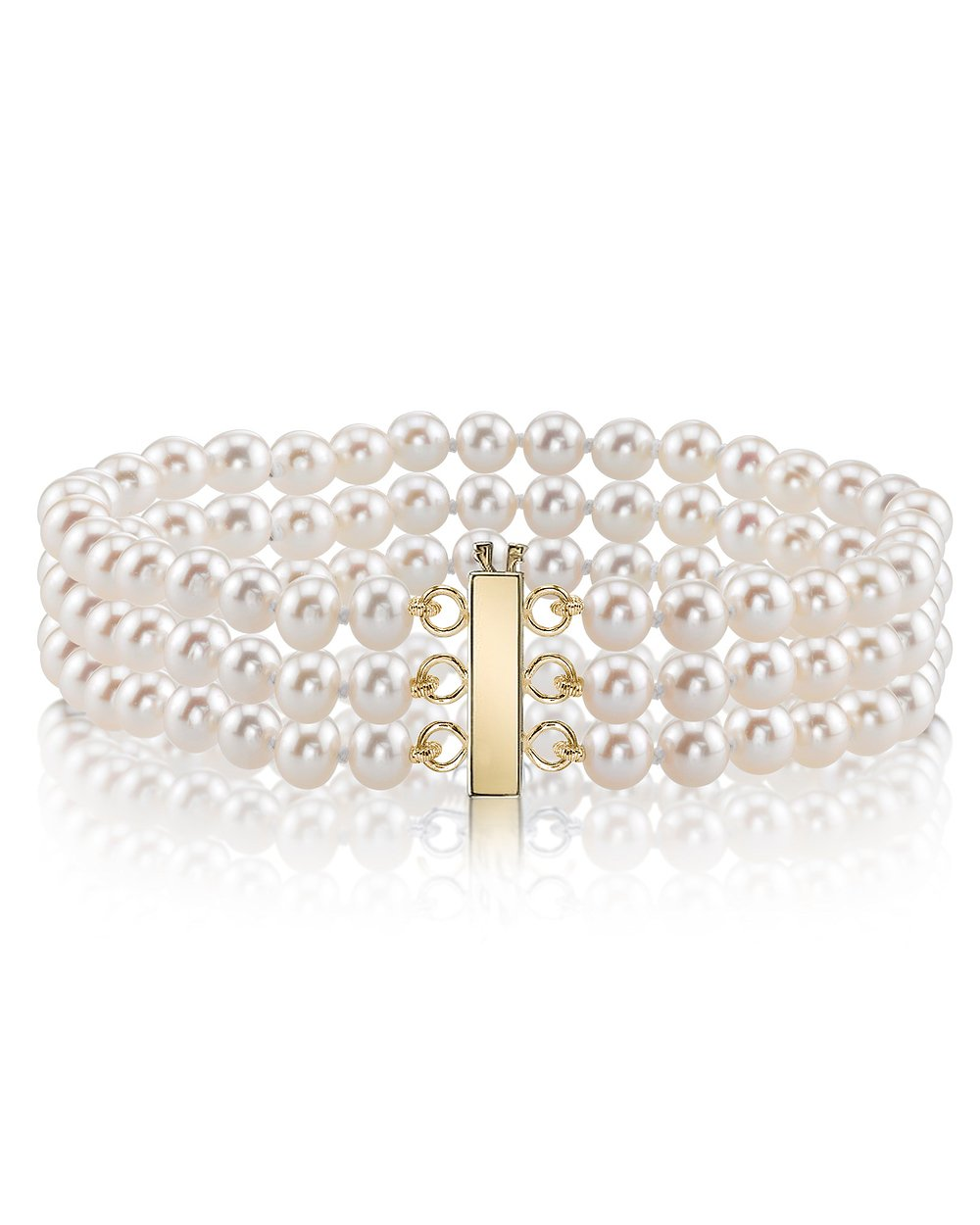 14K Gold 7.0-7.5mm Triple Japanese Akoya Saltwater White Cultured Pearl Bracelet - AAA Quality