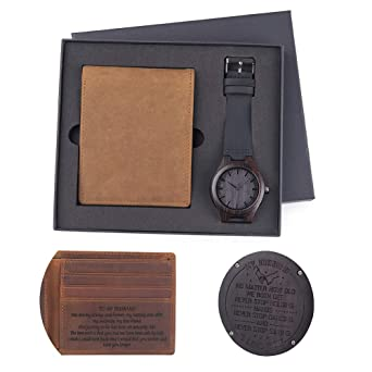 Mens Engraved Watch Wallet Family Gift Personalized Watches Special Birthday Anniversary Creative For Husband Son