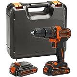 BLACK+DECKER BDCHD18KB-GB 18V Cordless Hammer Drill with Kitbox and 2 Batteries, 18 V, Black/Orange