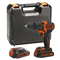BLACK+DECKER BDCHD18KB-GB 18V Cordless Hammer Drill with Kitbox and 2 Batteries, 18 V, Black/Orange