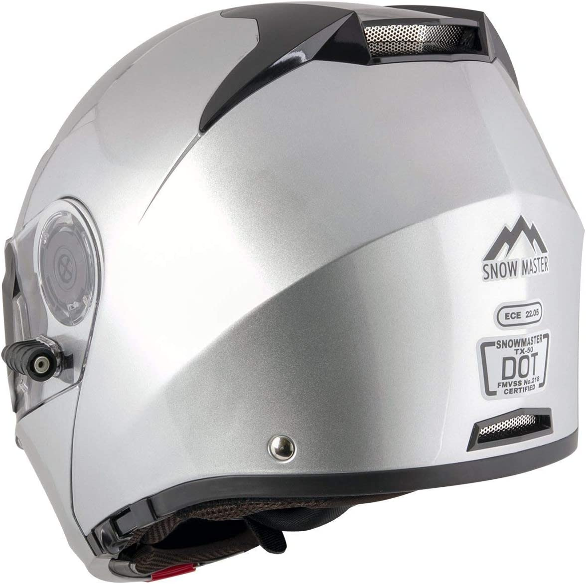 2X-Large Snow Master Helmets TX-50-Silver Snow Master TX-50 Silver Modular Dual Use Snowmobile and Street Helmet Silver