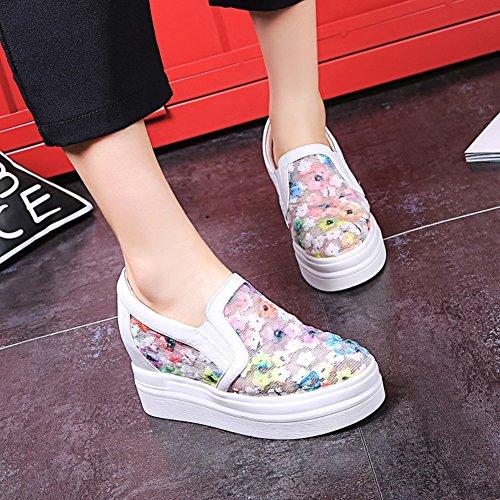 Aisun Donna Casual Mesh Floreale Punta Tonda Ascensore Mid Heels Slip On Platform Sneakers Shoes White