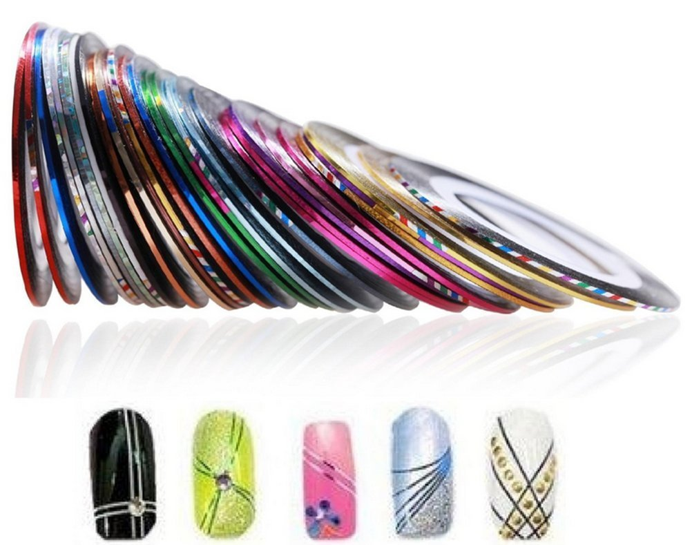 Demarkt 30pcs pegatinas de uñas Nail Tools Uñas Rueda Rayas