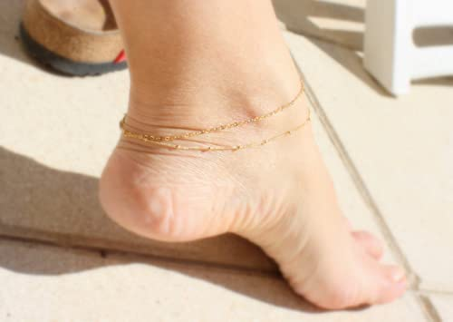 14K Gold Filled Anklet Gold Chain Ankle Bracelet,customize length 7-13 inches