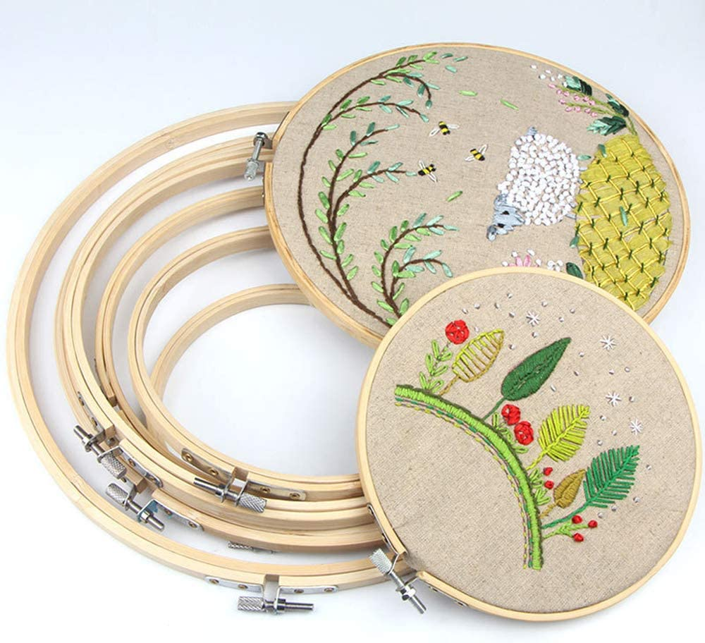 Circular Gift Bag,Cross Stitch Tool Kit RELIAN Embroidery Kit Including 124 Color Threads 40 Sewing Pins,5 Pieces Bamboo Embroidery Hoops 3 Pieces Aida Cloth Embroidery Starter Kit