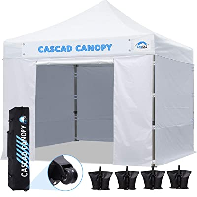 CASCAD CANOPY 10' x10' Ez Pop-Up Canopy Commercial Instant Tent Shelter with DIY Banner, Heavy Duty Roller Bag, 4 Removable Sidewalls, 10ft Screen Netting and Half Wall, 4 Weight Bags, White : Garden & Outdoor