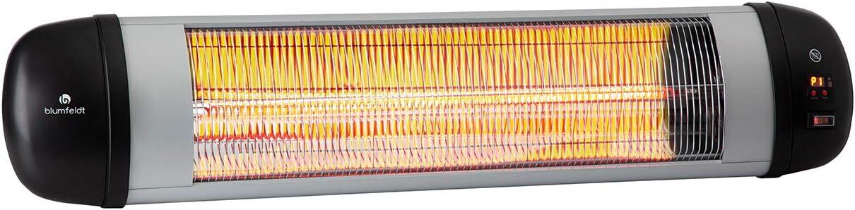 Blumfeldt Rising Sun Zenith Silver Edition - Estufa infrarroja, Rendimiento hasta 2500 W, 3 niveles de calor, Calefactor radiante, Ideal uso en exteriores, IP34, Control remoto, Gris metalizado