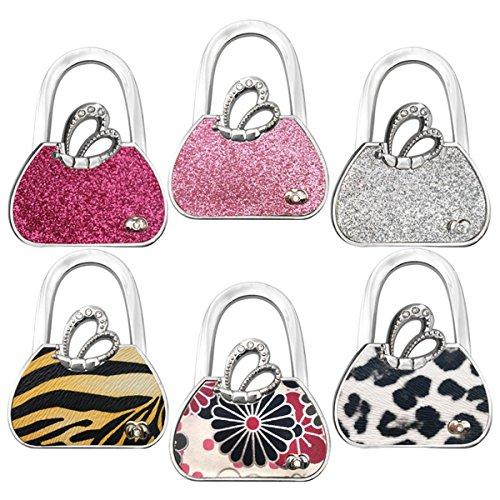 Reizteko Purse Hook, Angel's Wings Foldable Handbag Purse Hanger Hook Holder for Tables (Pack of 6) - Angel Handbag Holder