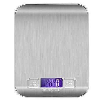 zrse portátil Digital báscula de cocina, de acero inoxidable multifunción cocina alimentos escala con pantalla LCD de alta precisión de 0,01 gramo y 11 kg ...