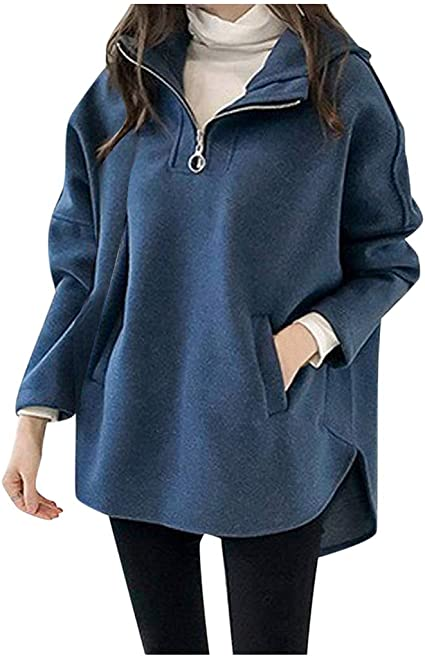 Lataw Women Jacket Stylish Casual Turn-Down Collar Long Batwing Sleeve Solid Coats Hooded Cute Tops for Fall and Winter