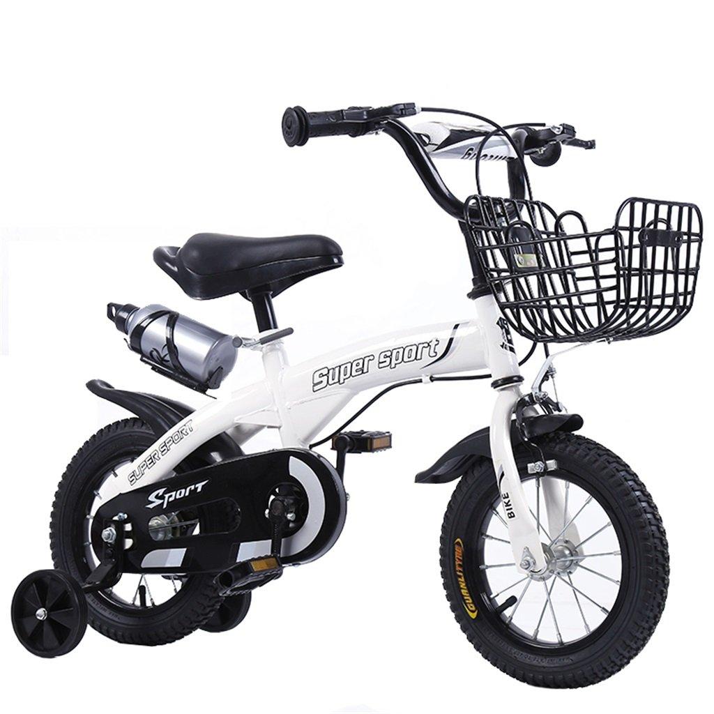 KANGR-子ども用自転車 子供用自転車アウトドアマウンテンバイク2-3-6-8ボーイズとガールズ子供用玩具調節可能ハンドルバー/トレーニングホイール付きサドルウォーターボトルとホルダー-12 / 14/16/18インチ ( 色 : 白 , サイズ さいず : 12 inch ) B07BTZBRQG 12 inch|白 白 12 inch