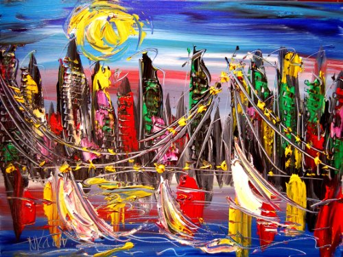 Superb Pop Art Urban Painting on Canvas – Original Modern Abstract Impressionist Art Deco — Signed with Certificate of Authenticity-size 24×20 Canvas- Stretched – Gallery Wrap – READY TO DISPLAY