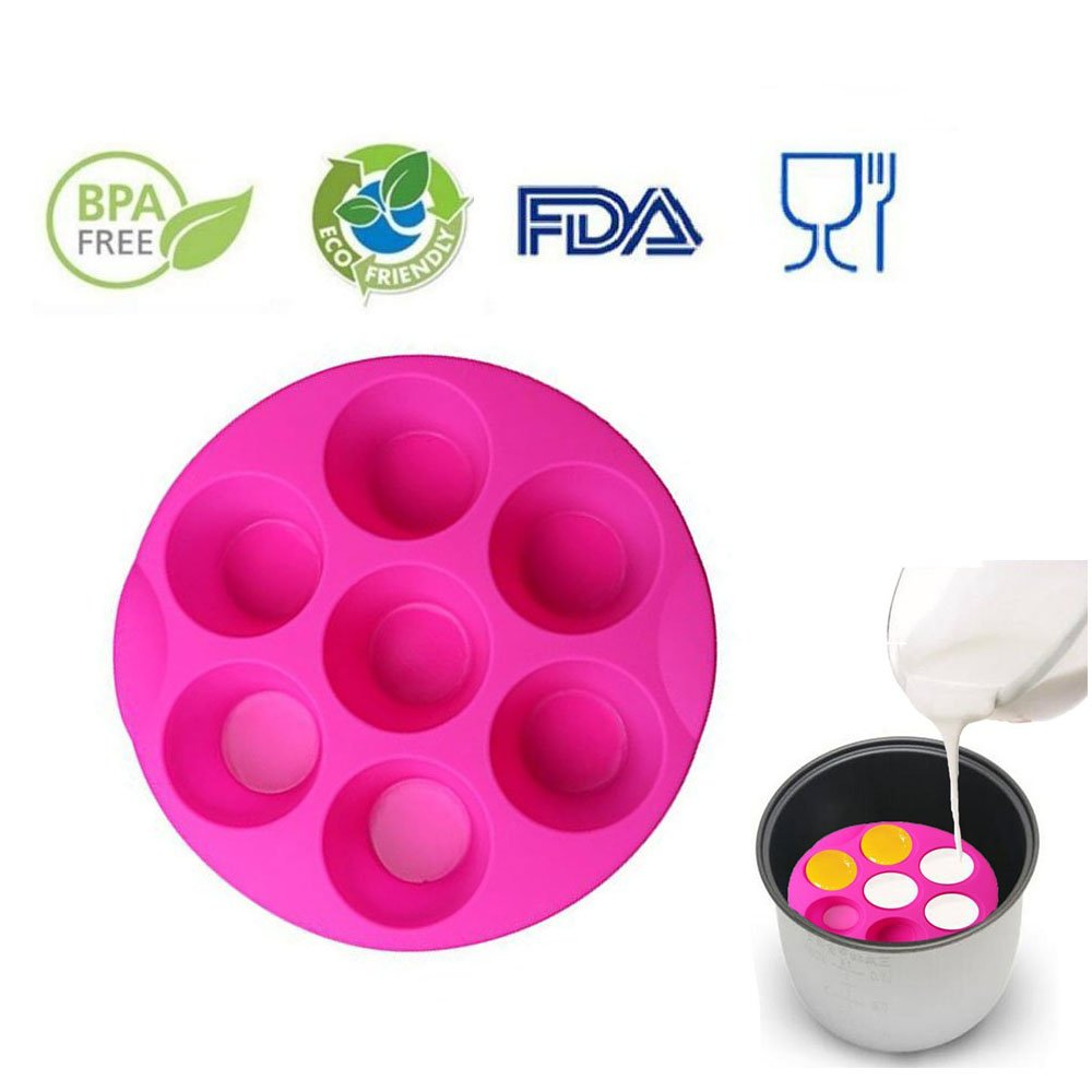7 Hole Silicone Egg Bites Molds for Instant Pot Accessory for 5,6,8 qt Pressure Cooker, Reusable Storage Container, Best gift for Kitchen, Baking, Kids, Children. (random color Pink or green) by RUN-snail (Image #1)
