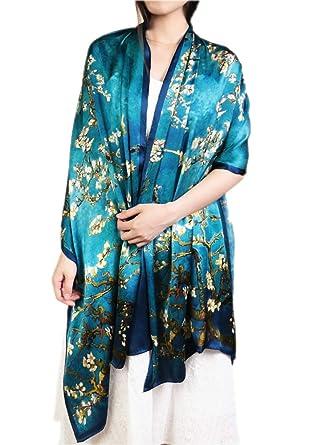 Prettystern - 100% soie Écharpe Etole foulard volée bleu XXL plus la taille  Peinture van 6e64fa20c74