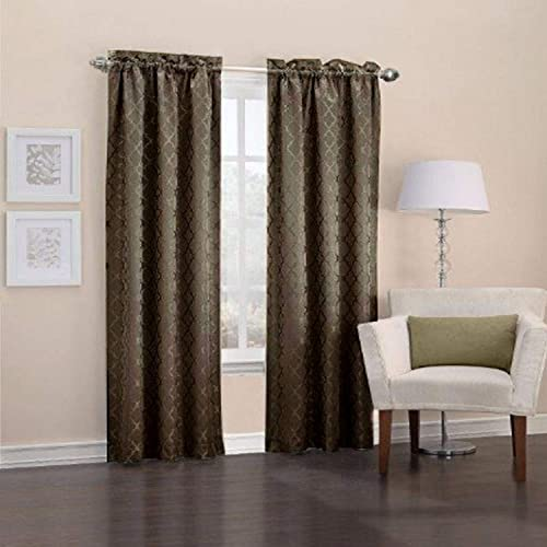 Easy Care Fabrics Thermal Pole Top Trellis Embroidered Room Darkening Curtains, 40 by 63-Inch, Chocolate, Set of 2