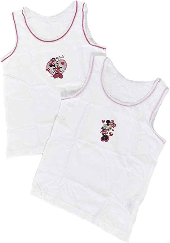 Disney Girls Minnie Mouse Vests Pack of 2 White