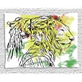 Rasta Tapestry by Ambesonne, Black and White Sketchy Head of Lion on Digital Pixels Backdrop Image, Wall Hanging for Bedroom Living Room Dorm, 60 W X 40 L Inches, Green Burgundy and Yellow