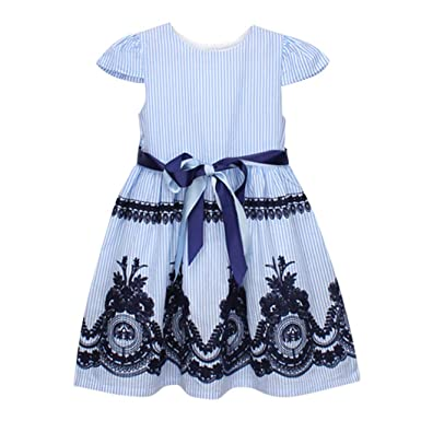 b8dbe1d58bf6a Robe De Fille ADESHOP Mode Enfants BéBé Filles Rayure Broderie Bow Ceinture Robe  FêTe Robes De ...