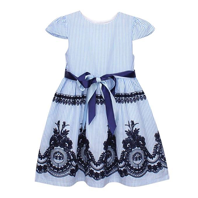 UULIKE Baby Girl Floral Stripe Bow Short Dresses Elegant Short Sleeve Zipper Mini Dress Newest Toddler Infant Kid Wedding Pageant Communion Party Birthday Christening Dress Baptism