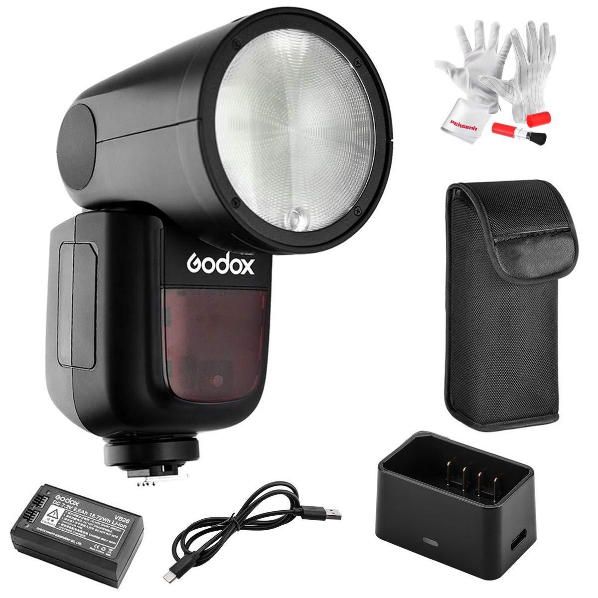 Godox V1-C Flash for Canon, 76Ws 2.4G TTL Round Head Flash Speedlight, 1/8000 HSS, 480 Full Power Shots, 1.5 sec. Recycle Time, Interchangeable 2600mAh Lithimu Battery, 10 Level LED Modeling Lamp