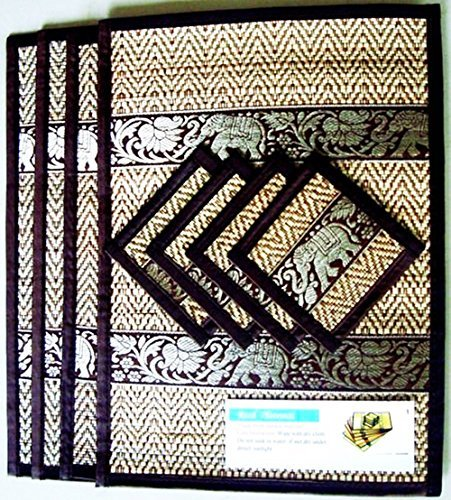 THAI HOME DECOR SILK HANDCRAFT ELEPHANT REED PLACEMATS & COASTERS HANDMADE DINING ROOM BLACK COLOR by chantubtimplaza