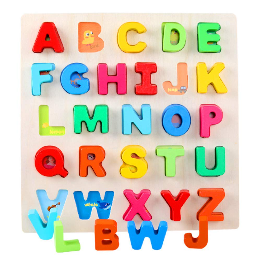 Wooden Alphabet Puzzle ABC Jigsaws Chunky Letters Early Learning Toys for Kindergarten and Toddlers