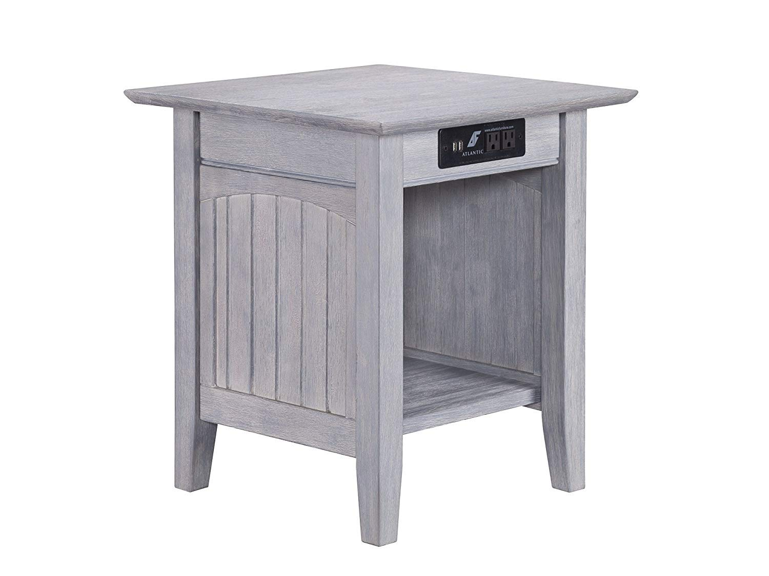 Atlantic Furniture AH14318 Nantucket End Table with Charging Station, Driftwood