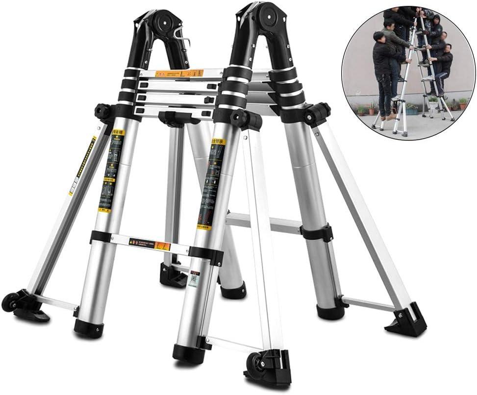 ZAQI Escalera Extensible Escalera telescópica Escalera telescópica Resistente con Barra estabilizadora, Escalera de extensión de Aluminio for escaleras/Loft/Techo Tienda Superior/Camper, Carga 150 kg: Amazon.es: Hogar