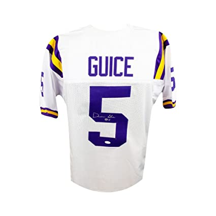 newest 12c21 7fe68 Derrius Guice Autographed LSU Tigers Custom White Football ...