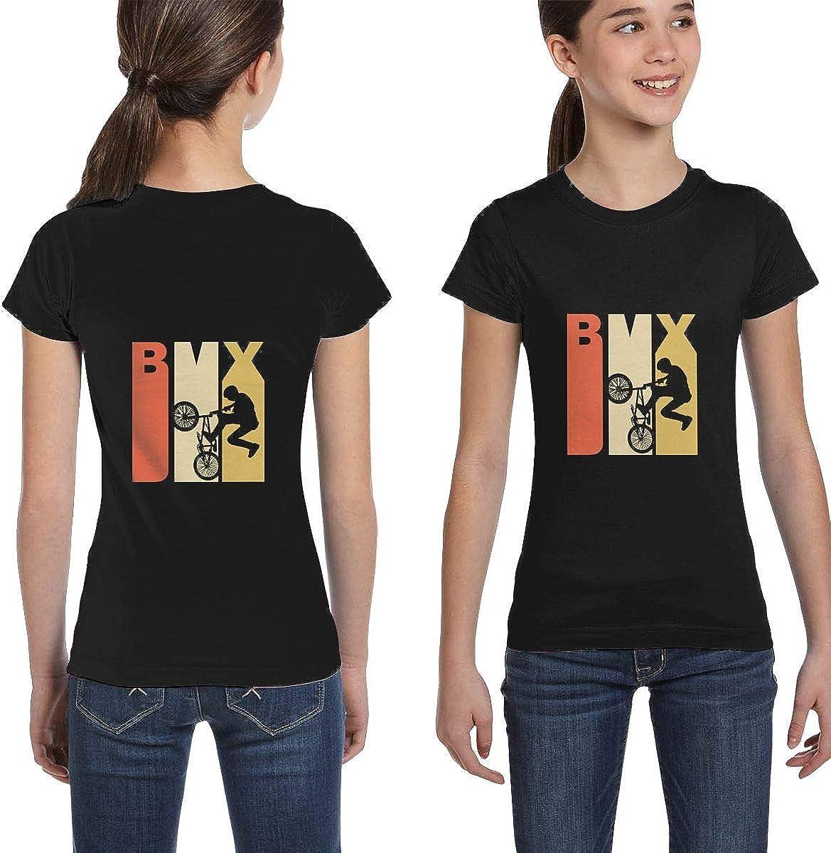 Girls Short Sleeve Retro 1970s Style BMX Silhouette Shirts XS-XL Fashion Tunic Shirt Dress
