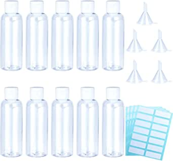 10 Pack Travel Bottle Empty Transparent Containers Bottles 100 ml Clear Plastic
