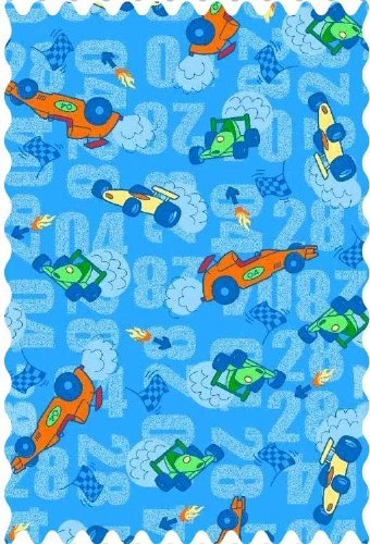 (SheetWorld 100% Cotton Percale Fabric by The Yard, Race Cars Blue, 36 x 44)