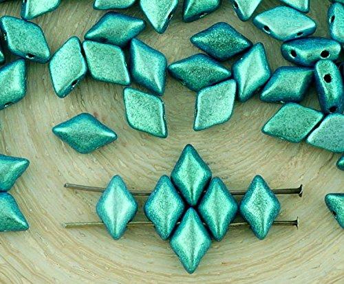 60pcs Polychrome Chameleon Turquoise Green Matte Matubo GemDuo Rhombus Diamond Two 2 Hole Czech Glass Beads Gem Duo 8mm x ()