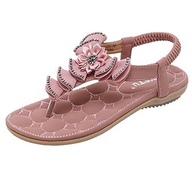 Damen Sandalen Sommer Flip Flops Strand Flach Zehentrenner Knöchelriemen Geflochtene T-Strap Sandalen mit Blumen Strass n8T8oyTc