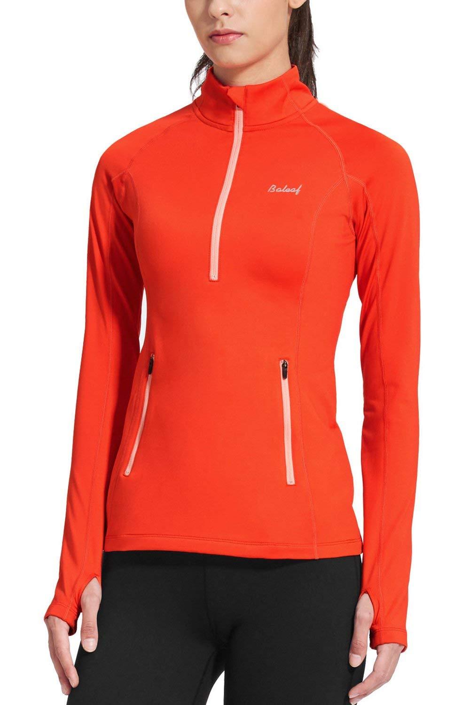 BALEAF Women's Thermal Fleece Half Zip Thumbholes Long Sleeve Running Jackets Coral Size L by BALEAF