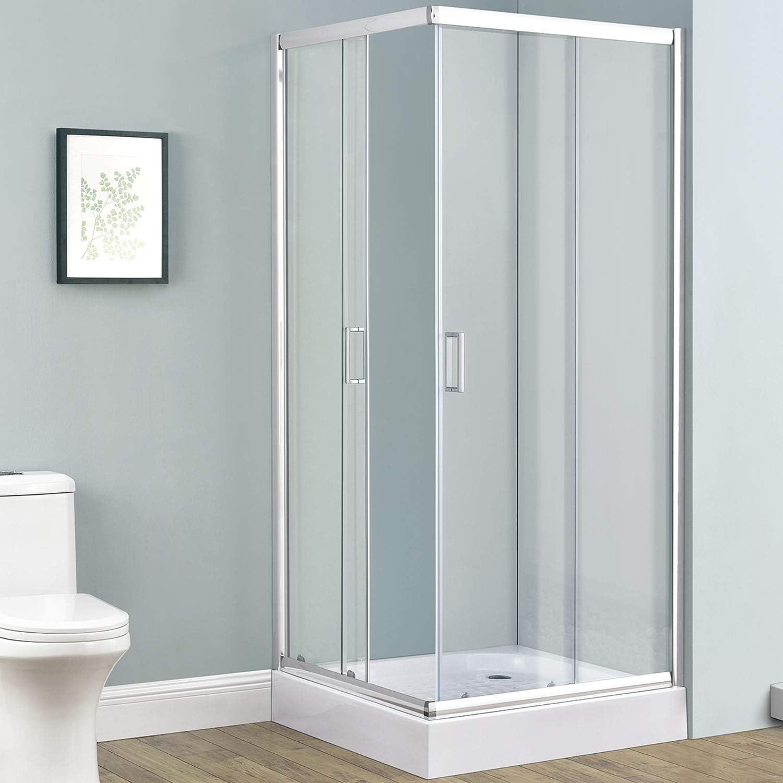 Cabina de ducha Braga de cristal de aluminio con esquina y puertas correderas en 4 tamaños: Amazon.es: Bricolaje y herramientas