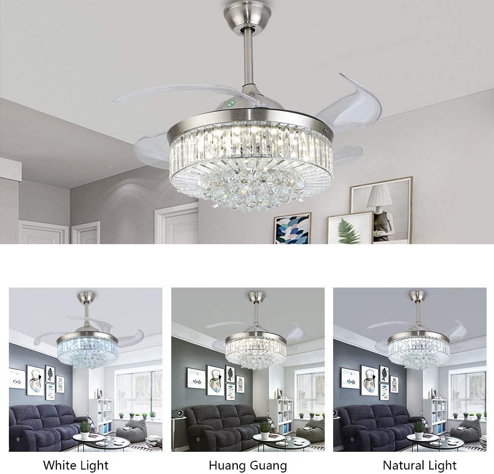 Oukaning 42 Crystal Ceiling Fan With Lights Control Remote Modern Invisible Retractable Chandelier Fan 3 Speeds
