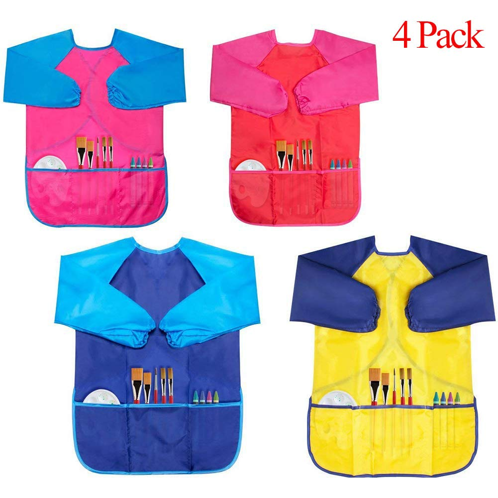 Samhe Art Painting Aprons for Kids Children Waterproof DIY Drawing Art Smock with 3 Roomy Pocket