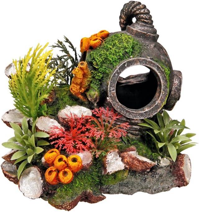 Nobby Casco con Plantas, Adorno de Acuario 13,5 x 11 x 12 cm