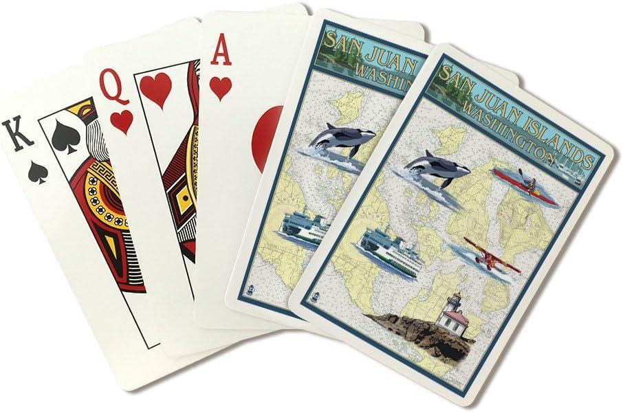 Islas San Juan, Washington – Carta náutica (Playing Card Deck – 52 tarjeta Poker Tamaño con Jokers): Amazon.es: Deportes y aire libre
