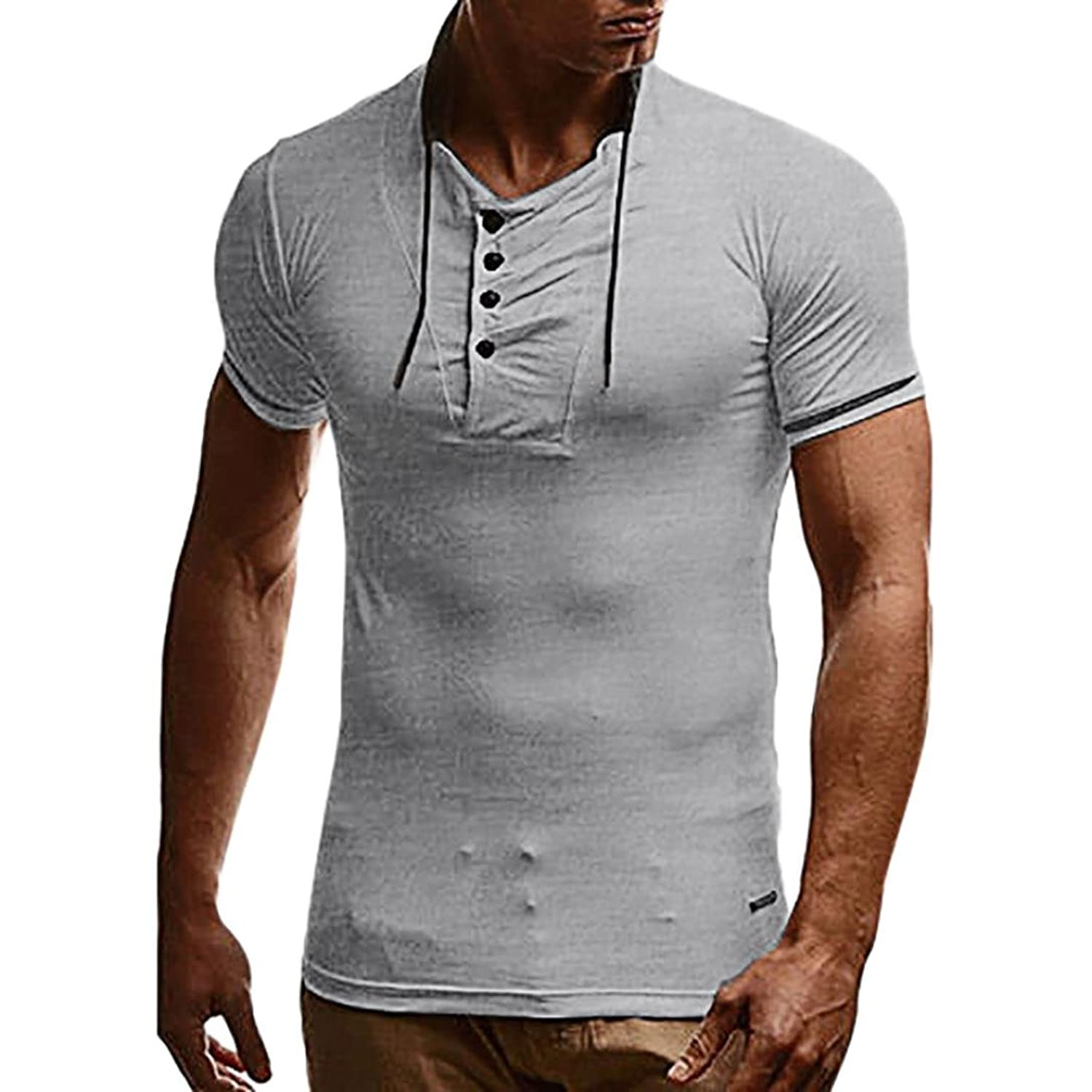 3c1cdd288b Slim Fit, o-Neck, Short Sleeve, button shirt simple and plain sports casual  shirt for Sprots ,Daily,Casual ❤ Perfect Match with your favorite Shorts,  ...