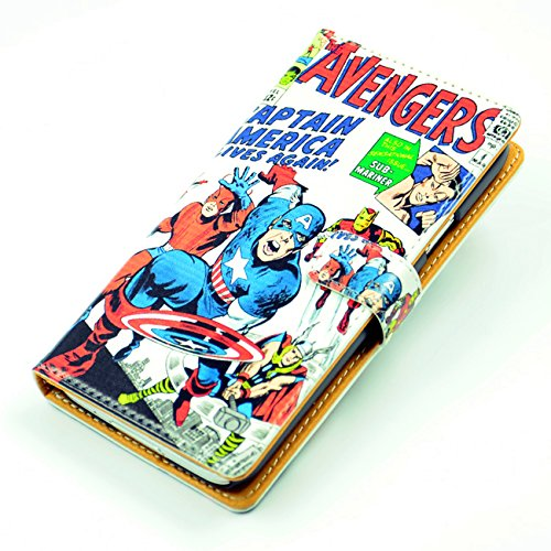 Unique! Marvel Comics Captain America The Avengers Pattern Slim Wallet Card Flip Stand Leather Pouch Case Cover For Samsung Galaxy S5