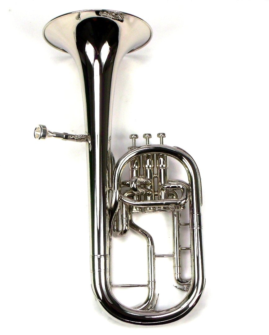 Intermediate Monel Pistons Alto Horn w/Case & Mouthpiece-Nickel Plated Finish by Moz (Image #2)