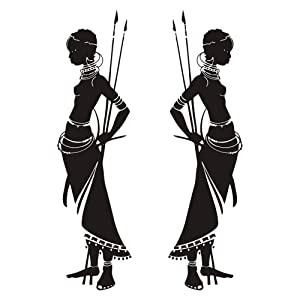 Housewares Tribal Two African Woman Removable Wall Stickers for Living Room Kids Bedroom Home Decor Vinly Waterproof Decals Quotes Art WS71 (Black, 100cm Tall)