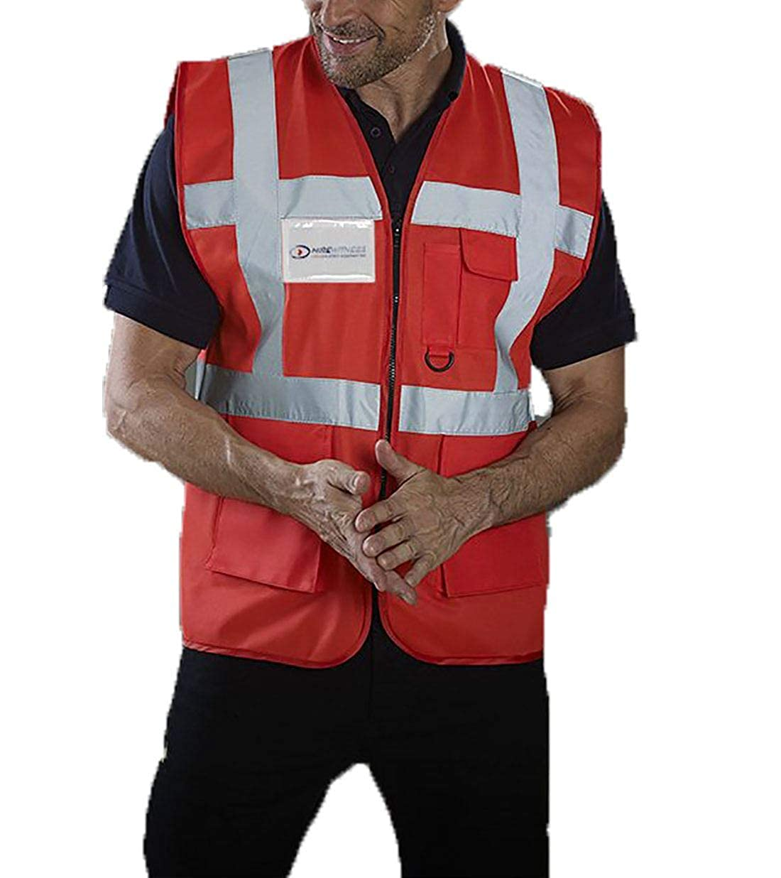 Mens Novelty Hi Visibility Work Wear Multi Functional Executive Vest Adults Reflective Striped Safety Waistcoat