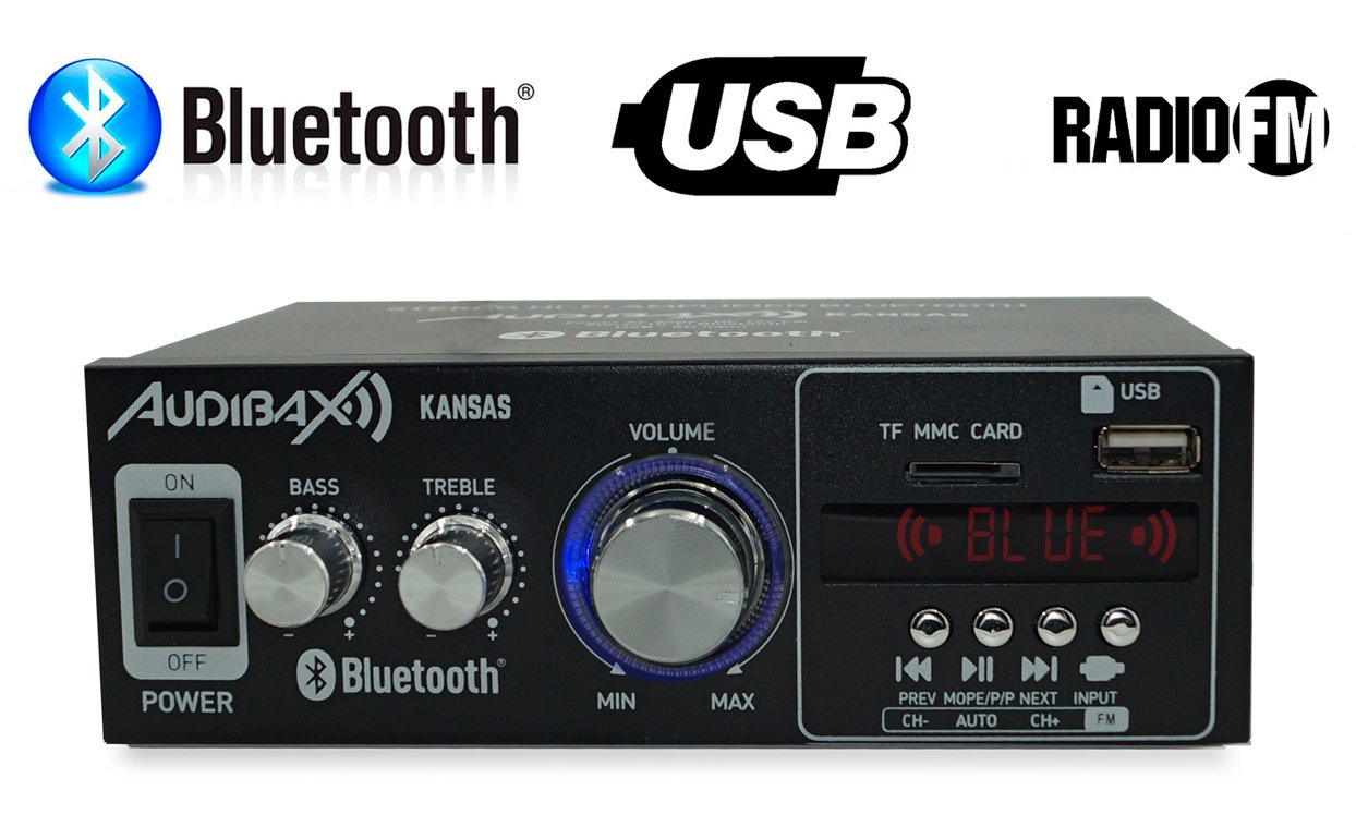 Audibax KANSAS Amplificador HiFi con Bluetooth / MP3 / FM 2 x 40W: Amazon.es: Electrónica
