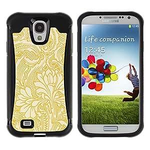WAWU Funda Carcasa Bumper con Absorci??e Impactos y Anti-Ara??s Espalda Slim Rugged Armor -- yellow gold wallpaper floral beige flowers -- Samsung Galaxy S4 I9500