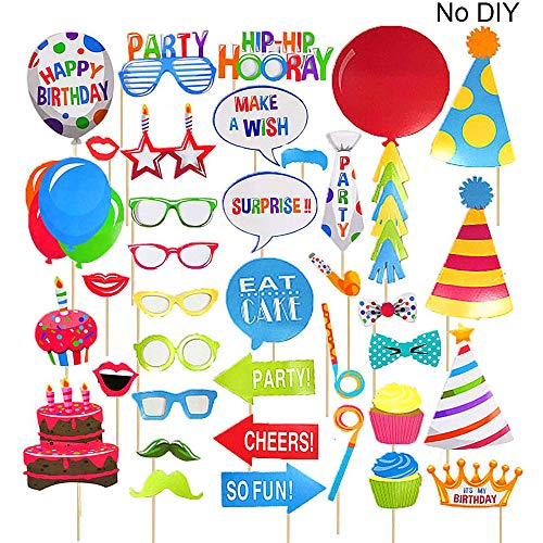 Birthday Photo Booth Props,Fully Assembled,No DIY Required,Mix of Hats,Lips,Crowns,Mustaches and More,Durable and Vibrant For Birthday Party 38pcs -